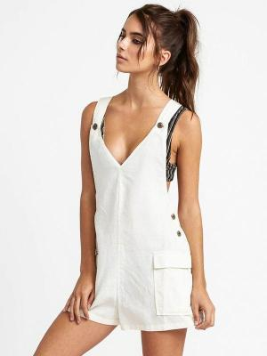 RVCA ROUND TOWN WHISPER WHITE krótkie sukienki - S