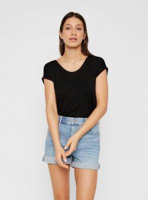 Czarna koszulka basic Pieces Billo - XS