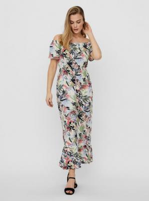 Kremowa wzorzysta sukienka maxi VERO MODA Phoebe - XS