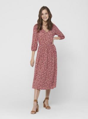 Czerwona sukienka midi w kwiaty ONLY Pella - XS
