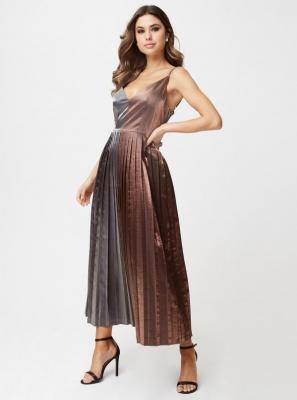 Brązowo-szara metaliczna sukienka maxi Little Mistress - XL