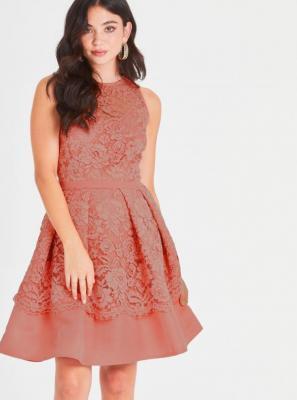 Koronkowa sukienka Little Mistress z morelami - L