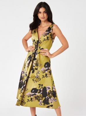Sukienka midish w żółte kwiaty Little Mistress - XS