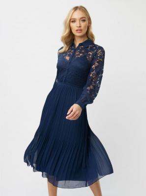 Granatowa sukienka midi z koronką Little Mistress - XS