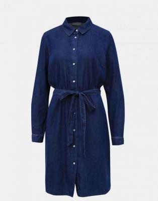 Granatowa dżinsowa sukienka koszulowa VILA Bista - S