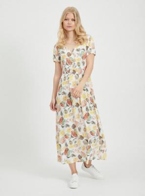 Żółto-biała sukienka maxi w kwiaty VILA Giulia - L
