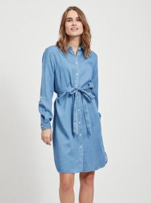 Niebieska dżinsowa sukienka koszulowa VILA Bista - L