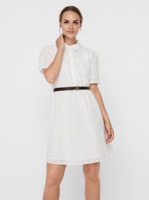 Biała sukienka koszulowa z drewnem VERO MODA Ellie - XS