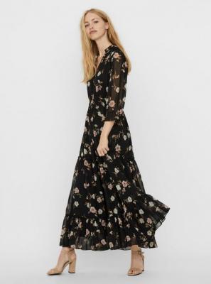 Czarna sukienka maxi w kwiatki VERO MODA Tallie - XS