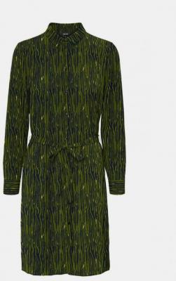 Ciemnozielona wzorzysta sukienka koszulowa VERO MODA Saga - XS