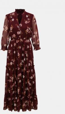 Bordowa kwiecista sukienka maxi VERO MODA Tallie - XS