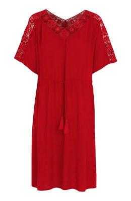 Cellbes Sukienka zkoronkowymi wstawkami czerwony