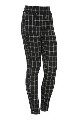 Cellbes D?ersejowe spodnie wkratk? z?akardu ze stretchem Czarny w kratk?