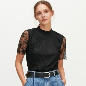 Reserved - Koronkowa bluzka ze stójką - Czarny