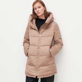 Reserved - Ocieplany płaszcz z pikowaniem - Beżowy