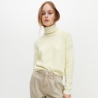 Reserved - Sweter z golfem - Żółty