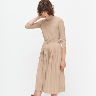 Reserved - Sukienka z golfem - Beżowy