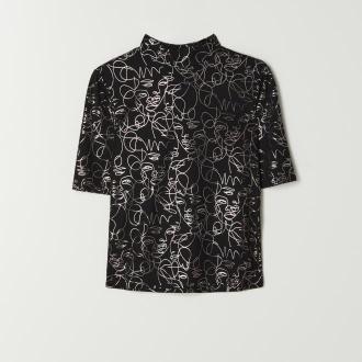 Mohito - Bluzka z błyszczącym nadrukiem - Czarny
