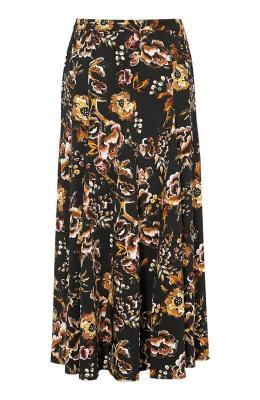 Cellbes Szeroka spódnica w kwiaty Czarny we wzory