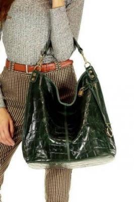Ponadczasowa torebka worek skórzana MAZZINI - Izabella krokodyl zielony