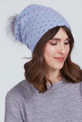 Ciepła czapka z futrzanym pomponem