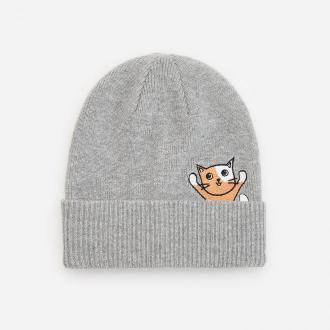 Reserved - Dzianinowa czapka z haftem - Jasny szary