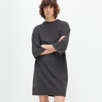 Reserved - Dzianinowa sukienka ze stójką - Szary