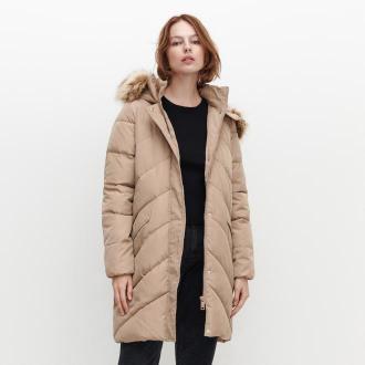 Reserved - Pikowany płaszcz z ociepleniem - Beżowy