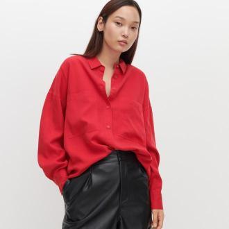 Reserved - Koszula oversize z Tencelu™ Lyocellu - Czerwony
