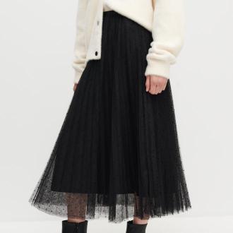 Reserved - Plisowana spódnica w kropki - Czarny