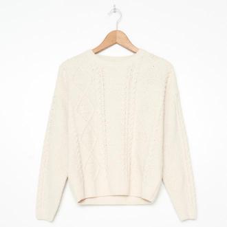 House - Sweter z warkoczowym splotem - Kremowy