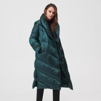 Mohito - Pikowany płaszcz z kapturem - Khaki