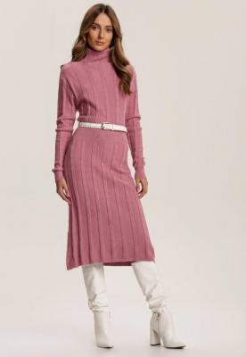Różowa Sukienka Dzianinowa Azerixan