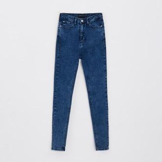 Cropp - Jeansy high waist - Granatowy