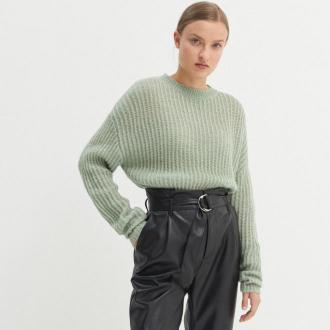 House - Prążkowany sweter oversize - Turkusowy