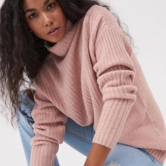 Sinsay - Miękki sweter z golfem - Różowy
