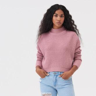 Sinsay - Krótki sweter ze stójką - Różowy