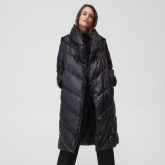 Mohito - Pikowany płaszcz z kapturem - Czarny