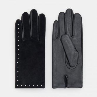 Mohito - Skórzane rękawiczki z ozdobnymi napami - Czarny