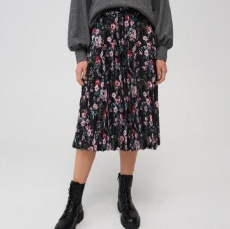 Mohito - Wzorzysta plisowana spódnica - Czarny