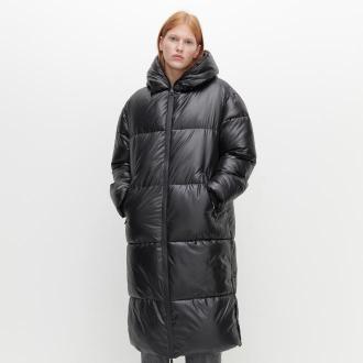Reserved - Obszerny ocieplany płaszcz - Czarny