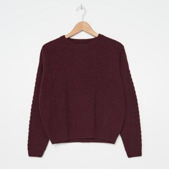 House - Sweter z warkoczowym splotem - Bordowy