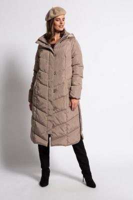 Duże rozmiary Pikowany płaszcz, damska, brązowy, rozmiar: 46/48, poliester, Ulla Popken