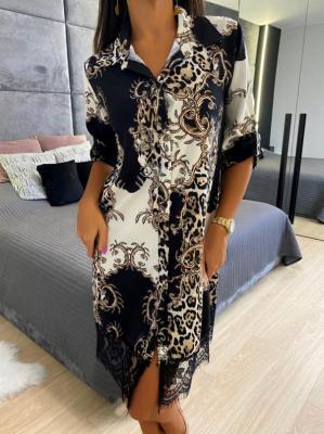 Koszulowa Sukienka z Koronką 5088-301