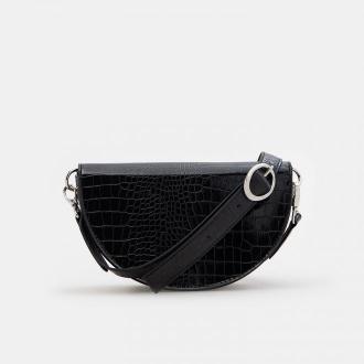 Mohito - Torebka saddle bag z imitacji krokodylej skóry - Czarny