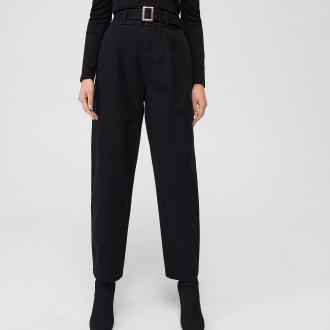 Mohito - Bawełniane spodnie z wysokim stanem - Czarny