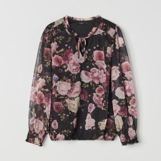 Mohito - Szyfonowa bluzka z wiązaniem przy dekolcie - Wielobarwny