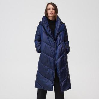Mohito - Długi pikowany płaszcz z kapturem - Niebieski