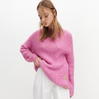 Reserved - Sweter o grubym splocie - Różowy
