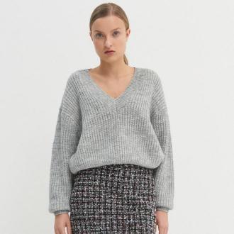 House - Sweter oversize z dekoltem w serek - Jasny szary